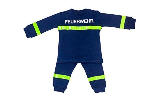 Feuerwehrmann Kostüm Gelb - Ringelsuse - Schlafanzug Pyjama zweiteilig für Kinder, Kinderschlafanzug, Feuerwehrmann, Set mit langarm Shirt und langer Hose Größe 92 98 100% Baumwolle, aus Fairtrade Herstellung, blau