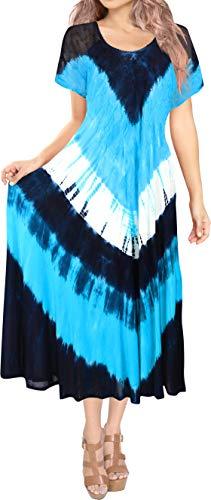 LA LEELA Larga Mano de Las Mujeres de rayón Suave Suaves Vestido Tie Dye Playa Bordado Azul_T906