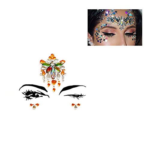 (Strass Juwelen Tattoo-Strass Gesicht Aufkleber Auge Aufkleber DIY Bindi Gesicht Schmuck Super leuchtenden Stirn Aufkleber für Wemen Mädchen Make-up Bühne Tanzparty Festival Holloween Tag-A-24-A-)