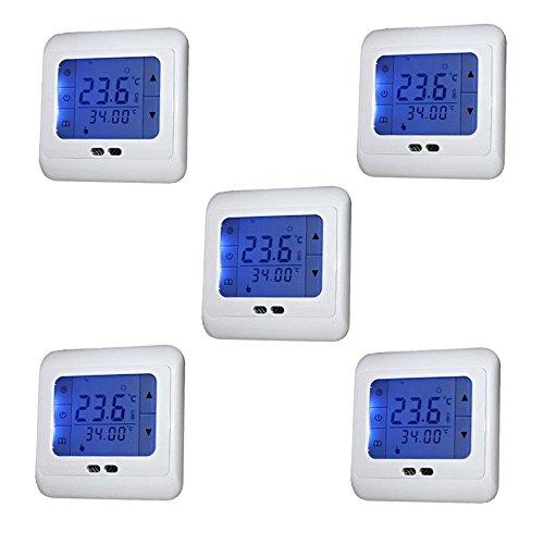 SAILUN 5 Stück/Set Raumthermostat Digital Thermostat Programmierung Raumthermostat Heizungs Raum Temperatur Regler mit LCD TouchScreen Blau Für Wade, Fußbodenheizung, Die Heizung Wand, Elektrische Usw (5 Stück / Set) (Thermostat 24v Heizung)