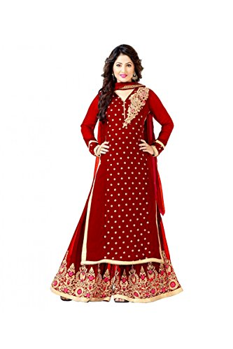 Sainent Spacial Red Plazo Semi Stitched Suit Suit salwar suits for women salwar suit salwar suits for women stitched salwar suits for women anarkali salwar suits for women salwar suits for women patiala salwar for women salwar kameez S8034