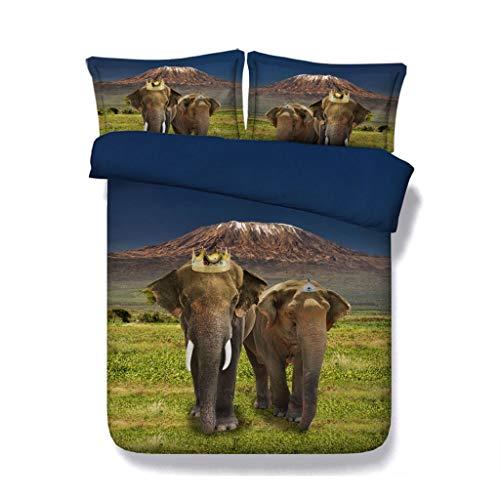 G'z Elefant Print 3 Stücke Bettbezug-Sets mit 2 Kissen Shams Super Soft Trösterdecke Tiere Bettwäsche mit Reißverschluss für Kinder Mädchen Jungen (Farbe : Crown Bedding, größe : Cal ()
