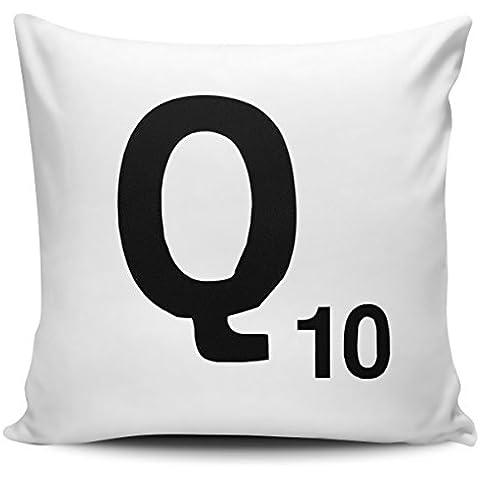 Alfabeto lettera Scrabble–Federa per cuscino lettera Q con inserto interno/