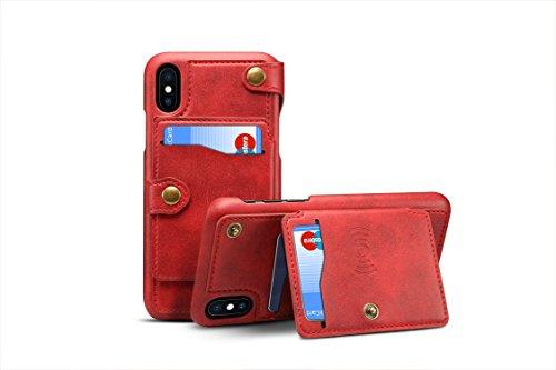 iPhone X Cover Leder, tacoo Reißverschluss Kreditkarte Visitenkartenhalter Geld Slot Slim Soft Fashion Abnehmbare Schutzhülle Wallet Handy Case Shell für Apple iPhone 102017, rot -