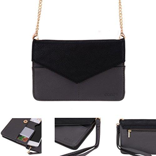 conze de femmes d'embrayage portefeuille tout ce sac avec bretelles pour Smart Téléphone pour HTC Desire 620Dual SIM/620/G Dual SIM gris gris