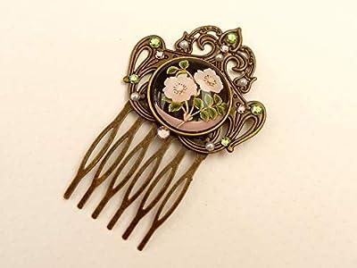 Peigne à cheveux avec roses sauvages en bronze rose