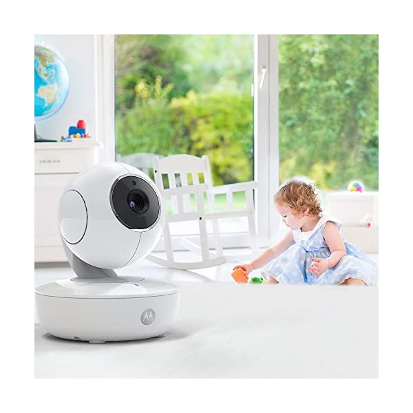 """Motorola Baby MBP50A-2 Twin Video Baby Monitor with 5 Inch Handheld Parent Unit, Infared Night Vision and Room Temperature Display Motorola Baby 5"""" Diagonal colour screen with remote pan, tilt and zoom and split-screen viewing Room temperature display with two-way talk and lullabies Up to 1, 000ft (300 meters) range with secure and private connection and infrared night vision 6"""
