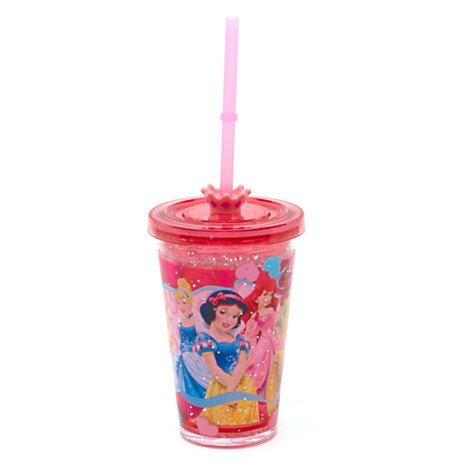 Disney Prinzessin - Glitzerbecher mit Strohhalm