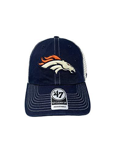 47 Brand Denver Broncos Clean Up Adjustable Snapback Baseball Hat Low Profile Navy Tan Mesh Back NFL Football Cap