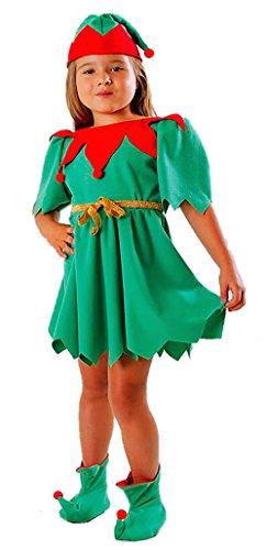 Deluxe Kind Kostüm Elfen - Magicoo Weihnachtself Kostüm Kinder Deluxe für Mädchen - Elfen Kostüm Kinder - Elfenkostüm Kinder Mädchen (110/116)