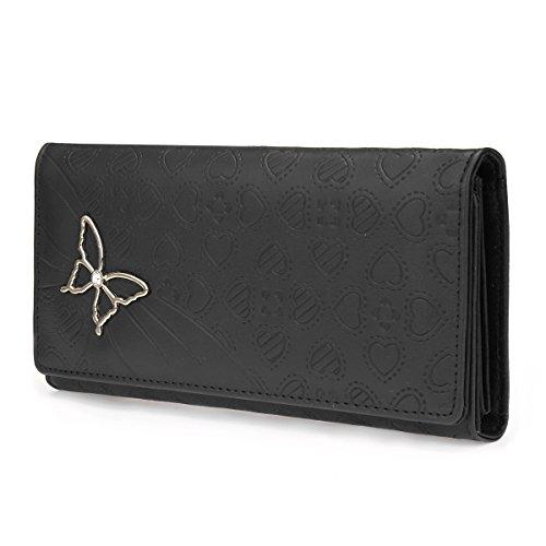 OURBAG Pochette a portafoglio con patta a farfalla lunga in pelle da donna Rosso Nero