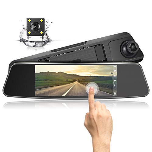 Jeemak Mirror Dash CAM 1080P HD Dual Lens 7' Touch Screen Wide Angle Dashboard Camera for Cars Front and Rear View with Waterproof Reverse Camera,Loop Recording,Parking Monitor