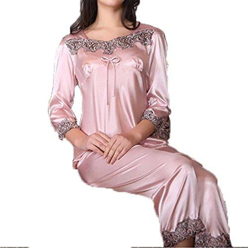 YUYU Femmes Les manches longues Pyjama Soie Dentelle Mince Chemise de nuit Robe de sommeil Chemise de nuit Mous Chemise de nuit rubber red