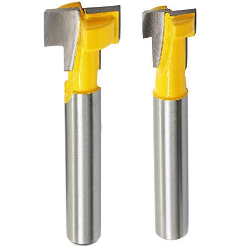 HSeaMall 2 Stück 0,64 cm Schaft, T-Nutfräser, Stahlgriff, 0,9 cm & 1,27 cm Holzbearbeitung, Fräser-Bit für Elektrowerkzeuge. (T-nut-fräser)