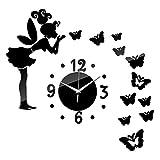 Yunhigh farfalla orologio a parete fiocco acrilico diy adesivo muro effetto specchio 3d per i bambini ragazze camera da letto scuola materna aula decorazioni salotto (nero)