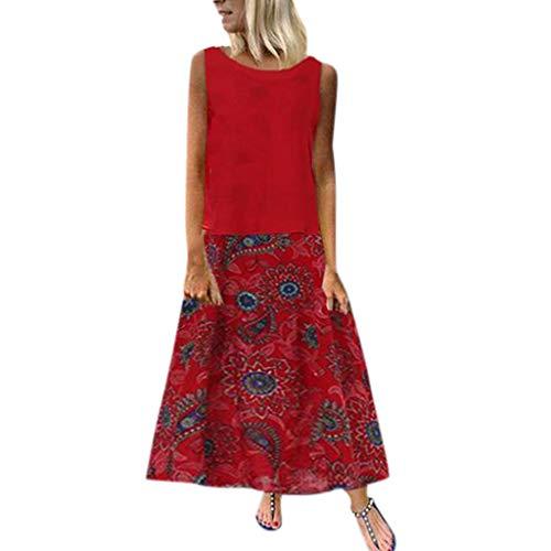 19 Sommer Strand Damen Vintage Leinen Kleid Sommer Floral Baumwolle Sexy Lose Strand Maxi Kleid ()