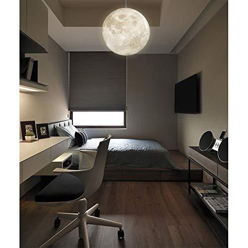 BEI-YI Kronleuchter- Mond Kronleuchter-Restaurant Anhänger Beleuchtung 3D Druck Runde Kugelförmige Deckenleuchten Für Küche Cafe Hotel Foyer Dekoration -25 Pendelleuchte (Size : 50cm) -