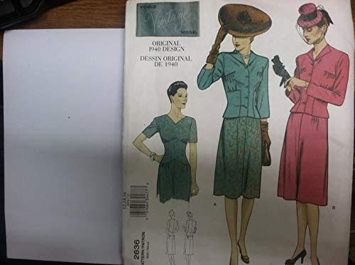 Vouge Schnittmuster 2636Größe Widerhaken-Vouge Vintage Model Orignal Design 1940