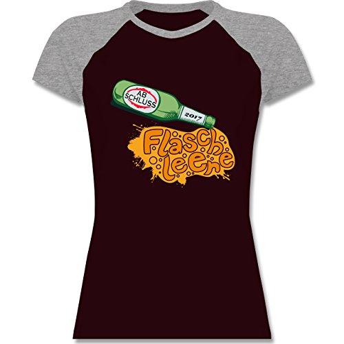 Abi & Abschluss - ABSCHLUSS 2017 Flasche leer - zweifarbiges Baseballshirt / Raglan T-Shirt für Damen Burgundrot/Grau meliert