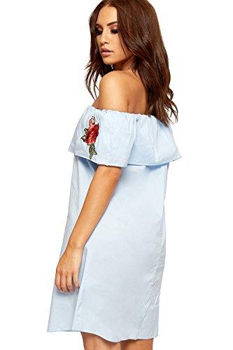 WEARALL Damen Bardot Weg Schulter Abgestuft Mini Kleid Damen Blumen Rote Rose Ärmellos - 36-42 Blau