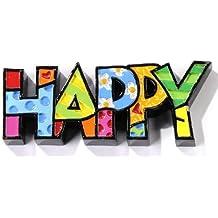 ROMERO BRITTO Word Art Mini - HAPPY - Pop Art Kunst aus Miami #333283