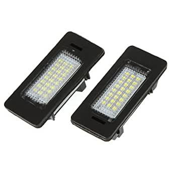 SODIAL(R) 2Pcs 168LM 24 3528 SMD 24 pieces LED lumiere de plaque d'immatriculation pour BMW E39 E60 E61 E90 5 Series