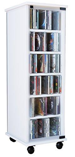 """VCM CD DVD Regal Turm Tower Vitrine Schrank Möbel mit Rollen Drehbar Farbwahl 98 x 31 x 35 cm """"Valenza"""""""