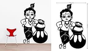 DECOR Kafe Decal Style Bal Krishna Wall Sticker Medium Size-15*24 Inch - Black