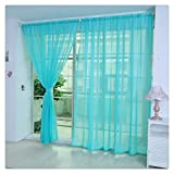 Zimuuy Pure Color Tulle Door Window Curtain Panel Drapé de cantonnières Écharpe Sheer 100x200cm (H, 200_x_100_cm)