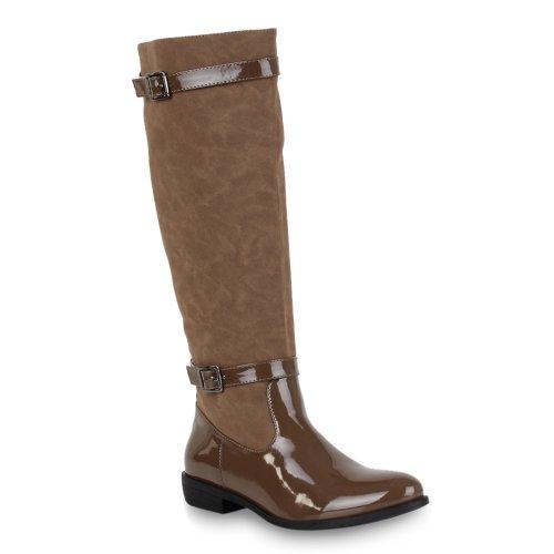 Damen Schuhe Klassische Stiefel Boots Lack Braun