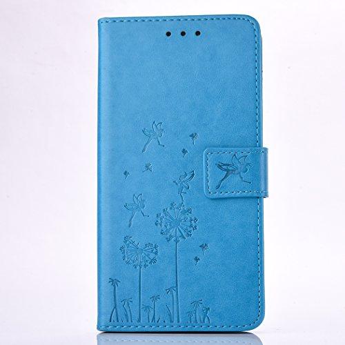 Galaxy A7 2017 Hülle, Samsung Galaxy A7 2017 Case, Samsung Galaxy A7 (2017) A720 Schutzhülle, BONROY® Löwenzahn Muster PU Ledertasche im Bookstyle Brieftasche Leder Hülle Handyhülle Schutzhülle Etui mit Standfunktion Karteneinschub und Magnetverschluß Case Cover für Samsung Galaxy A7 (2017) A720 - Löwenzahn blau