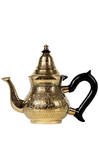 Marokkanische Teekanne aus Messing 400ml mit Sieb und Kunststoffgriff | Orientalische Kanne Bejan 400ml goldfarbig mit Deckel | Verschiedene Grössen | (400ml) -