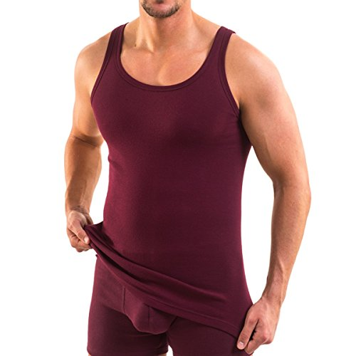HERMKO 3000 Herren Tank Top 100% Baumwolle in Feinripp, Unterhemd, Muskel Shirt made in EU, Farbe:bordeaux, Größe:D 5 = EU M (Top, Tank Athletic Farbe)