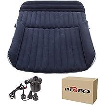 Colchon Coche iRegro portátil SUV colchon inflable con bomba de aire, Doble Cama colchones de aire para coche, colchones inflables con inflador electrico para viajes al aire libre y camping