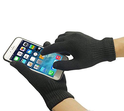 Adento Touchscreen Handschuhe | für Damen und Herren Größe M | Geeignet fürs Smartphone, iPhone, Tablet | Outdoor Warm für den Winter | Schwarz
