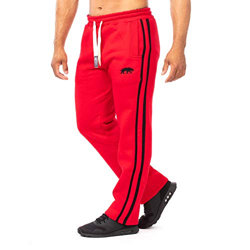 SMILODOX Herren Jogginghose | Trainingshose für Sport Fitness Gym Training & Freizeit | Sporthose - Jogger Pants - Sweatpants Hosen - Freizeithose Lang, Farbe:Rot/Schwarz, Größe:S