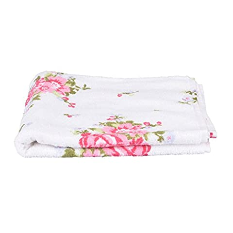 Homescapes 100% Portuguese Cotton White Floral Hand Towel Pink, Green and Pastel Blue Design