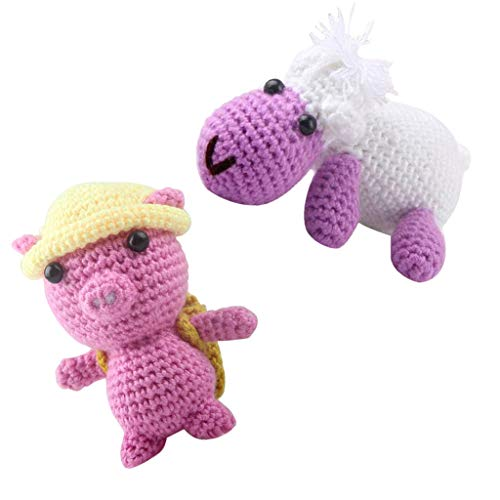 chiwanji 2 Sätze Häkelnadel Kit Für Kinder Machen 3D Schaf Schwein Gefüllte Puppe Spielzeug (Spielzeug Schwein Gefüllte)