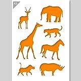 Afrikanische Tiere Silhouetten Schablone - Karton - A3 42 x 29,7 cm - Breite Elefant 12 cm - wiederverwendbare kinderfreundliche Schablone für Malerei, Handwerk, Fenster, Wände und Möbel