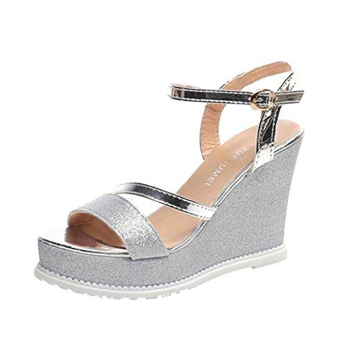 Witsaye sandali donna con zeppa estive elegant scarpe donna estive eleganti scarpe donna tacco medio -le donne flip flop cave zeppa tacco alto scarpe donna estate sandali (40, argento)