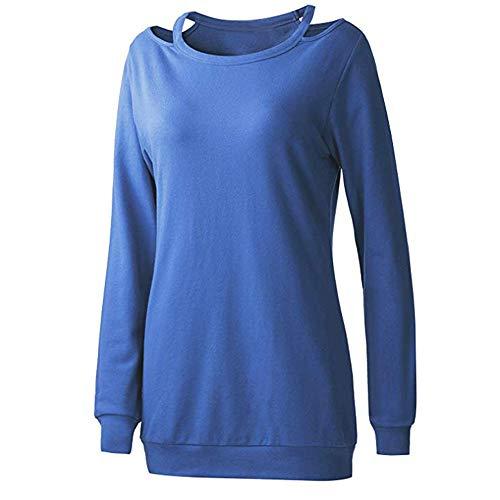 JUSTSELL ▾ Damen Pullover - Rundhalsausschnitt trägerloser langärmeliger  einfarbiger Pullover Sweatshirt Loses vielseitiges Oberteil