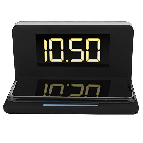 ASHATA Reloj de Despertador Digital LED con Plataforma de Cargador Inalámbrico Rápido 10W para Teléfono Móvil, Reloj de Despertador de Luz Nocturna de 3 Brillo Ajustable para Oficina Casa(Negro)