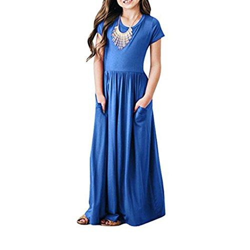 JERFER Mädchen Kleinkind Baby Mädchen Solid Dress Kids Casual Sommerkleid Beachwear Kleider Outfits - Schuhe Schwarze 9t