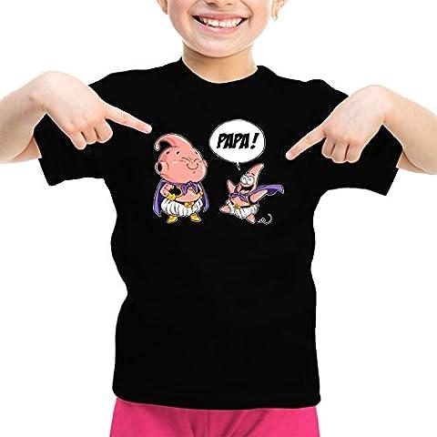 T-shirt Enfant Fille Manga - Parodie Boubou de Dragon Ball Super et Patrick de Bob l'éponge - Tel père tel fils (Version SD) - T-shirt Enfant Fille Noir - Haute Qualité (843)