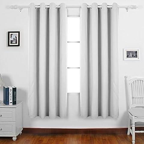 Deconovo Verdunkelungsgardine mit Ösen Gardinen Wohnzimmer Vorhang Blickdicht 240x135 cm Grau Weiß 2er (Isolato Sandwich)
