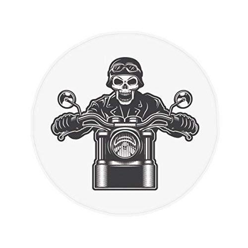DIYthinker Motorrad Skelett Lichter Brillen Muster Anti-Rutsch Boden Pet Matte rund Badezimmer Wohnzimmer Küche Tür 80cm Geschenk