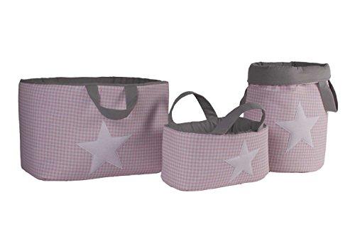 Funny Baby Vichy - Juguetero acolchado 30 x 40 cm, diseño estrellas, color rosa