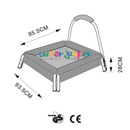 Super Jumper Mini Trampolin 95 cm | Kinder Trampolin | Indoor Trampolin | GS und TÜV Rheinland Zertifiziert | Sicherheitsnetz mit Stabilitätsring | Belastbarkeit 25 kg