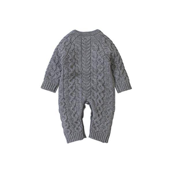 Mameluco de Punto de Invierno para bebé,Bebé recién Nacido niño niña Invierno Color sólido botón suéter Mono de Punto… 2