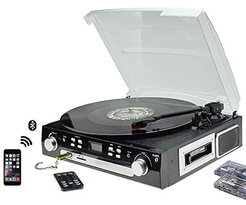Digitnow! Bluetooth Vinyl Record Player Platine tournante, cassette, radio et entrée auxiliaire avec port USB et codage SD - Télécommande, Haut-parleur stéréo intégré, Lecteur de musique autonome, amplificateur intégré audio( Remarque: appuyez longuement sur 5 secondes pour allumer)